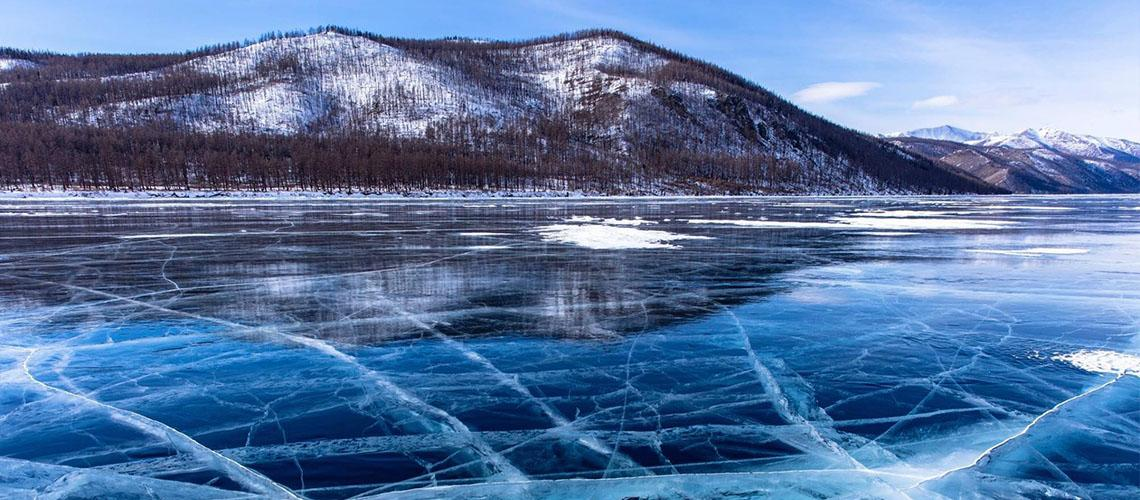 Crystal clear water lake Mongolia