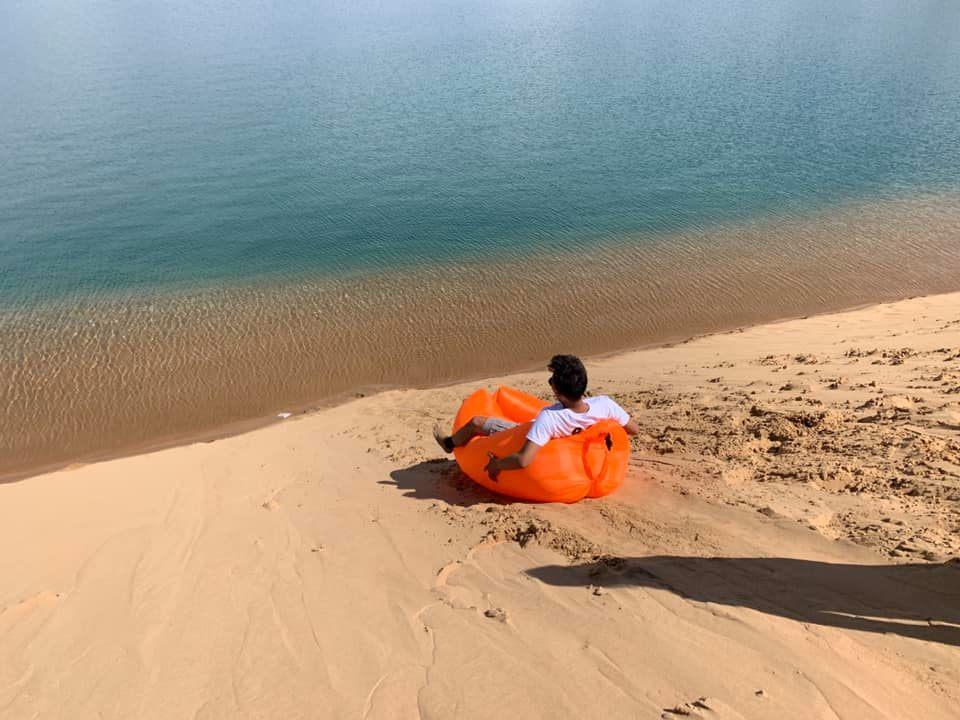 Sliding at Black lake Mongolia