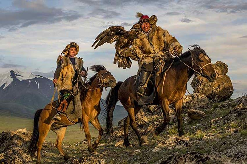 Famous eagle hunters in West Mongolia